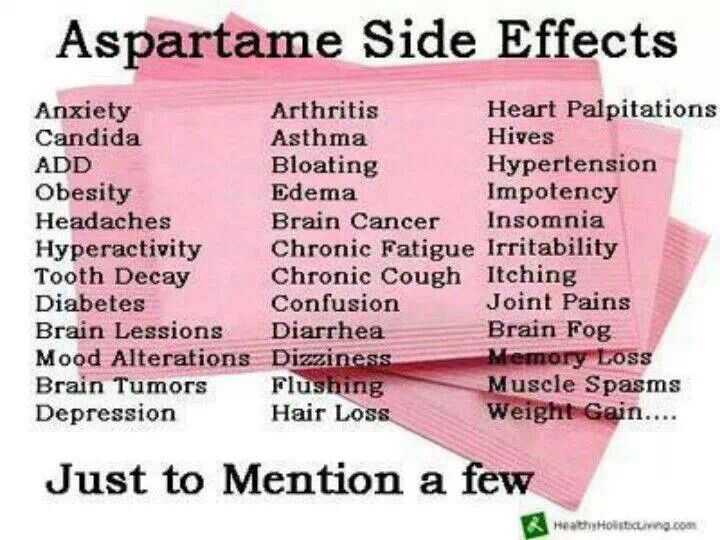Negative effects of the use of aspartame and other artificial sweeteners in diet drinks