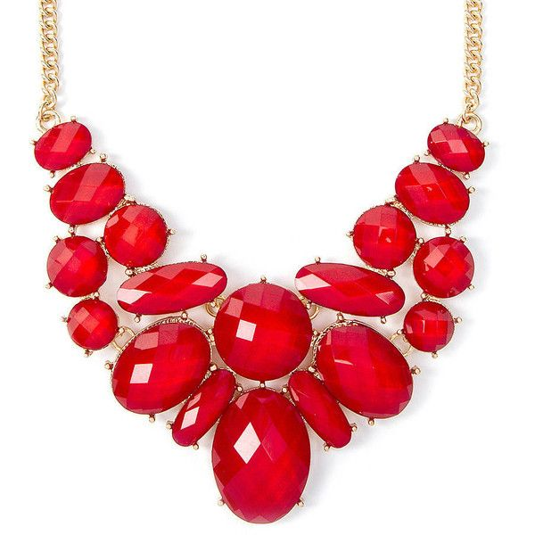 Karlie Red Glitter Stone Ovals Statement Necklace | Icing ($5) ❤ liked on Polyvore featuring jewelry, necklaces, bib statement necklace, red statement necklace, stone jewellery, oval necklace and statement necklace