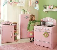 Love the retro look: Little Girls, Pink Kitchens, Playrooms, Kids, Plays Kitchens, Play Kitchens, Pottery Barns, Kitchens Sets, Retro Kitchens