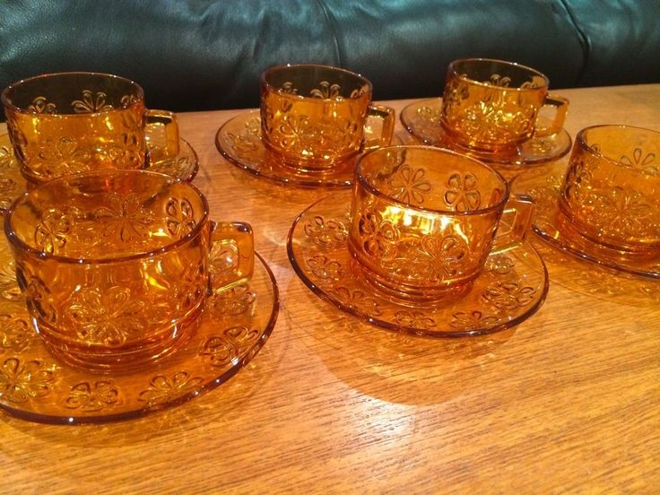 VERECO Set of 6 Retro Cups & Saucers Flower Amber Pressed Glass MADE IN FRANCE #Vereco