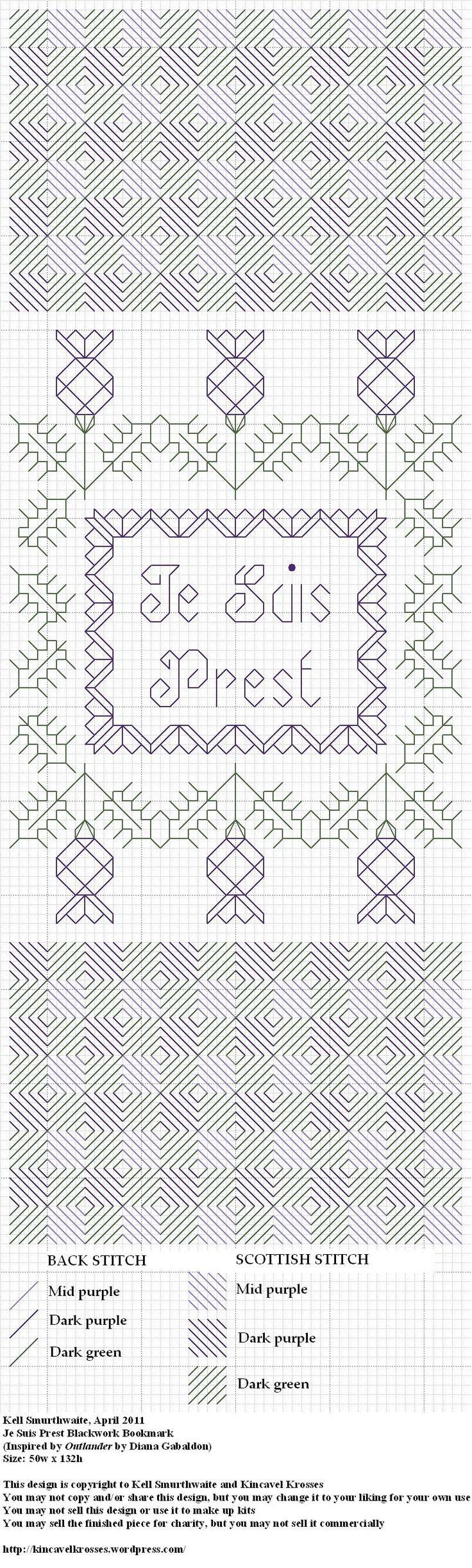 Design: Je Suis Prest Blackwork Bookmark (Inspired by Outlander by Diana Gabaldon) Size: 50w x 132h Designer: Kell Smurthwaite, Kincavel Krosses Permissions: This design is copyright to Kell Smurth...