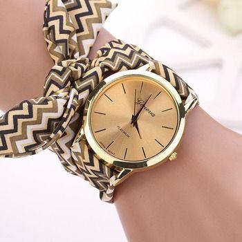Fashion Women Aztec Tribal Floral Cloth Quartz Dial Wristwatch Watch