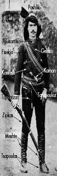 Costume of the (Greek) people's militia of the Eastern Pontos/Black Sea region).  Early 20th century.  Some of the names used by the Greeks are (almost) identical to the names Turks use: Pashlik = başlık, Fesikia = fişeklik, Kaman = kama, Zipkas = zıvga.  Of course, the costume is almost identical too.