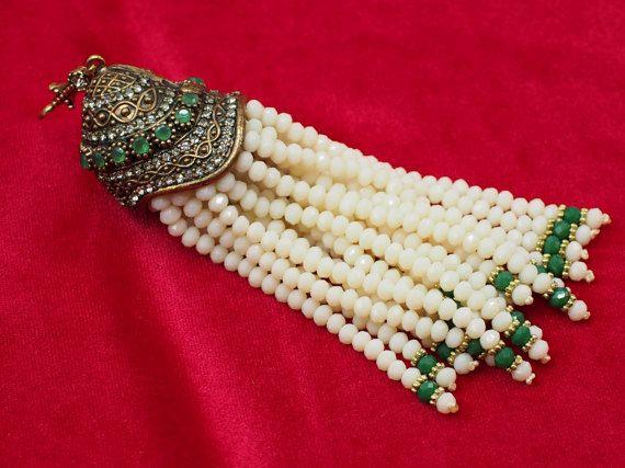 Tassel Pendant with Cream Crystal Stone Jewelled Authentic