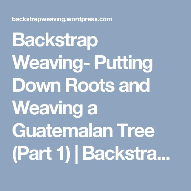 60 best weaving tutorials backstrap weaving images on pinterest backstrap weaving putting down roots and weaving a guatemalan tree part 1 fandeluxe Ebook collections