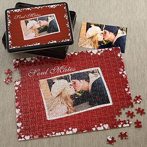 I so want this! It's a personalized puzzle and tin set that you can customize with your own photo and your names will be repeated in the background design! This is such a cool Valentine's Day Gift idea! #GiftsFromTheHeart