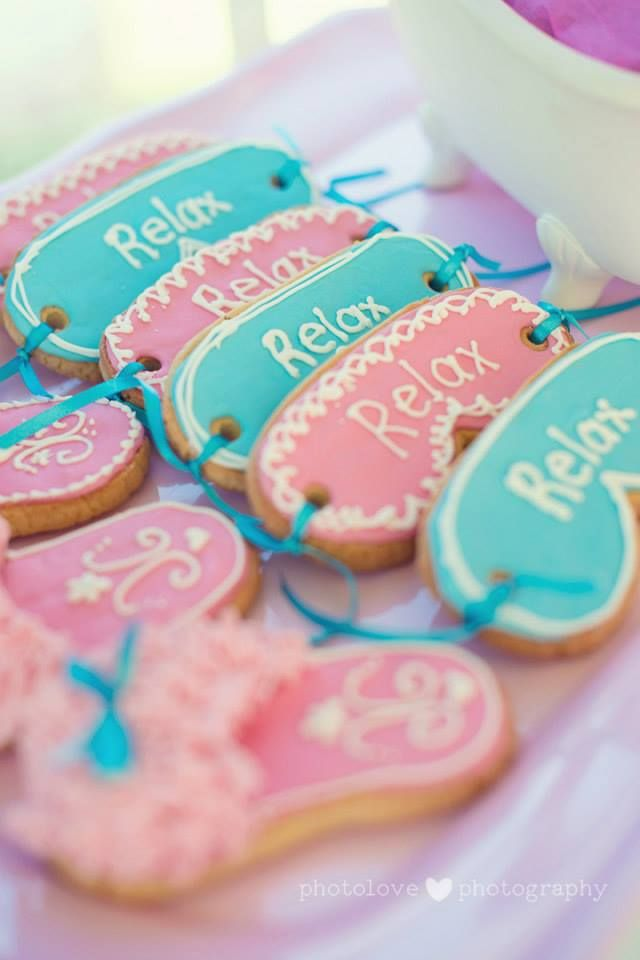 spa theme party ~ relax mask cookies  https://www.facebook.com/pages/Baked-with-Love/115563808503000?ref=br_rs
