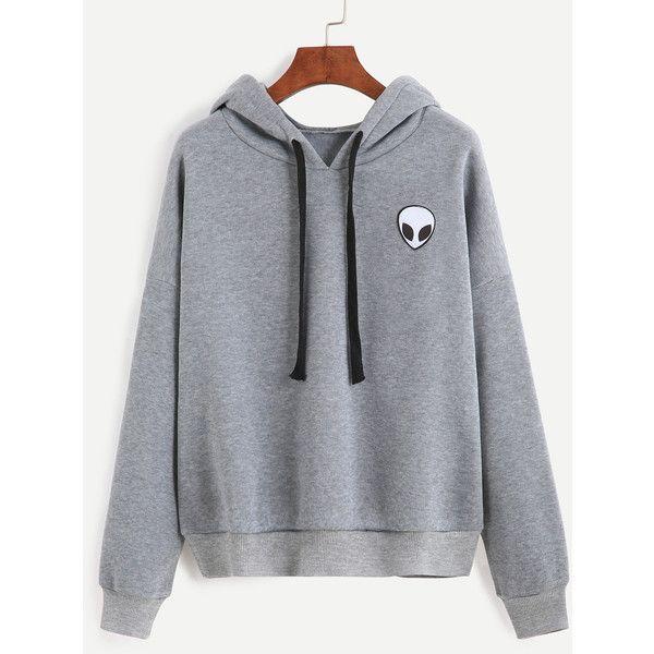 Grey Alien Print Hooded Sweatshirt ($18) ❤ liked on Polyvore featuring tops, hoodies, grey, gray hooded sweatshirt, hoodie pullover, grey hooded sweatshirt, pullover hoodies and hooded sweatshirt