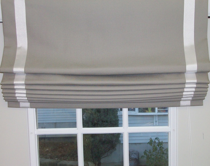 Ribbon Trimmed Flat Roman Shade Drapery Designs New