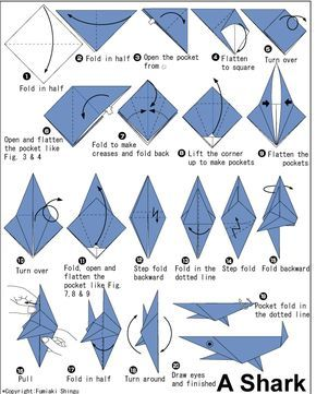 Money Origami Instructions for Beginners | Intermediate Origami shark folding instructions with 20 step diagram ...