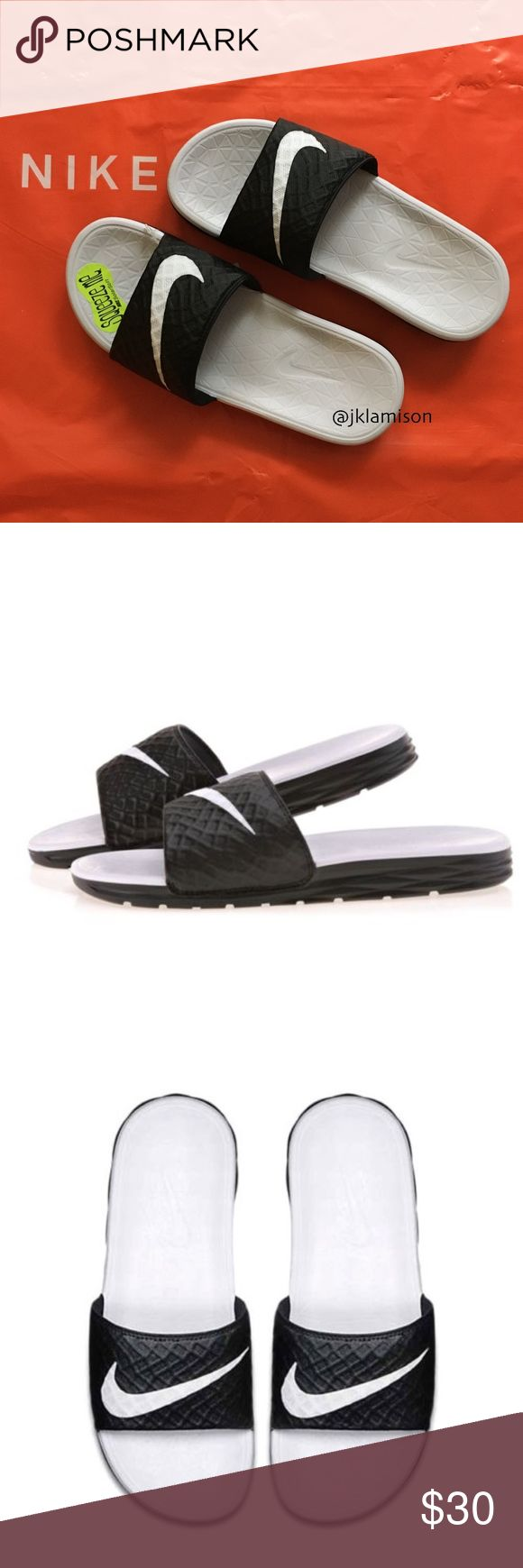 Nike BENASSI SOLARSOFT Women's Sport Slides Sandal The Nike Benassi Solarsoft Women's Slide is made with a soft, pliable foam midsole for plush cushioning and flex grooves that allow your foot to move more naturally.  One-piece synthetic leather strap for durability and comfort Dual-density foam midsole and textured footbed create soft cushioning and a massaging effect Solarsoft foam outsole for durability and traction Flex grooves provide natural range of motion  New with Tag Nike Shoes…