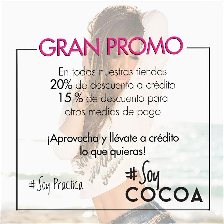 En #CocoaJeans pensamos en tu comodidad, desde mañana tendremos descuentos en nuestras tiendas #SoyPráctica #SoyCocoa