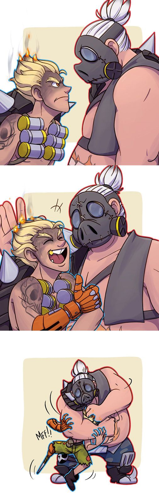 idfk I just thought deadpool would be funny in overwatch. because he's funny in everything. just like me ahahahahHAHAHAHAHAHAHAHA. HA. also didn't care to do better anatomy on junkrat in the second...