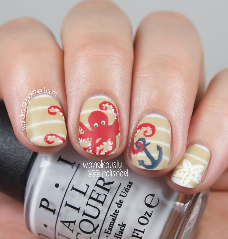#NailArt #Octopus #Anchor #SummerManicure