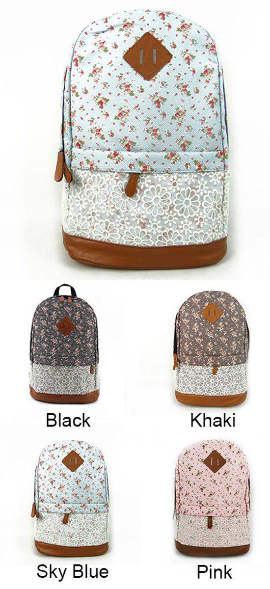 Fashion Pink Floral Print Lace Backpack for big sale #backpack #college #bag #school #fresh #rucksack #floral #flower #lace