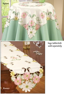 Embroidered Pastel Gerbera Daisy Table Linens