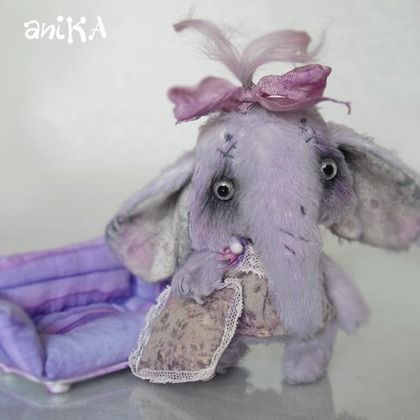 Дуняша - голубой,сиреневый,слоник,девочка-слоник,тедди слоник,слоненок