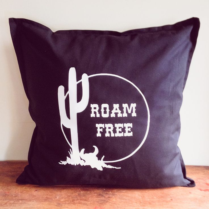for the wanderer in all of us ... the slogan ' roam free' in white text with cactus and skull design... designed by us and then printed by us in our home studio on solid black cotton cushion covers with a zip ... these measure 50 x 50 cm ( 20 x 20 inches) .. you are purchasing the cover only..  inspired by vintage, rock n roll, adventurers and wanderers ... we designed our tees and homewares for those of us who yearn to learn, travel and adventure ....  make every day an adventure.. take ...