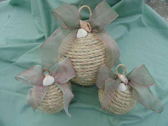 set of three coastal christmas ornaments, nautical ornament, shell