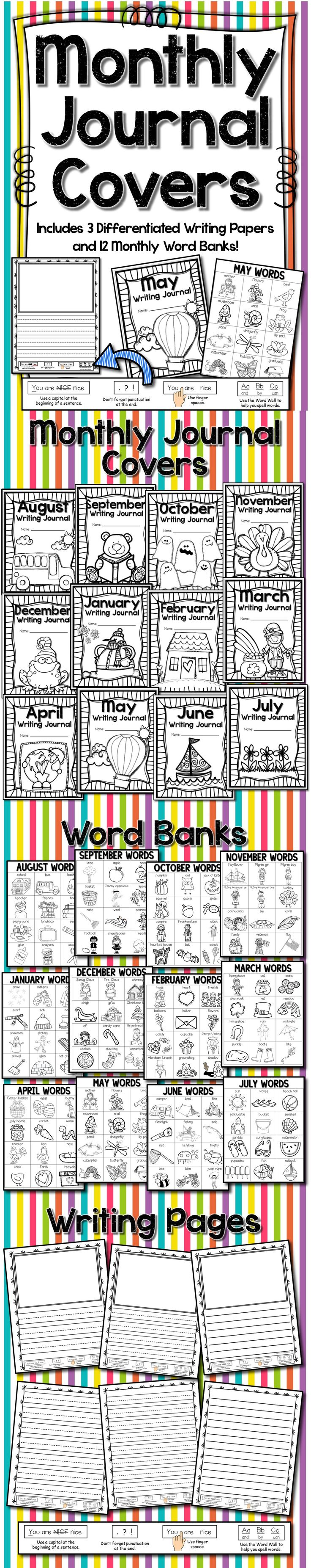 Monthly Journal Covers with Word Banks and Differentiated Writing Pages! There's also a nifty little editing reminder on the bottom of each writing page!