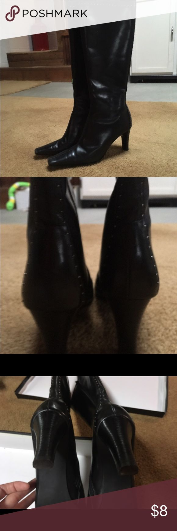 Tall black boots Lightly studded classy black boots madison Shoes Heeled Boots