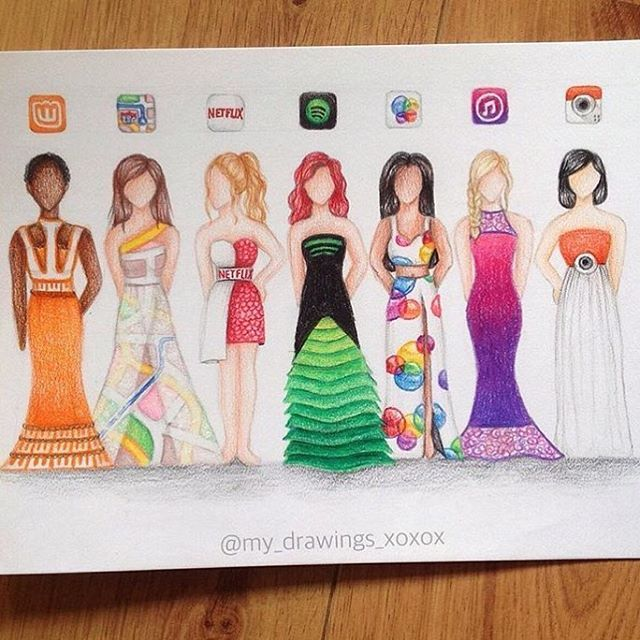 New App Dresses! Comment which one you #LOVE the most! By @my_drawings_xoxox _ #justartshares