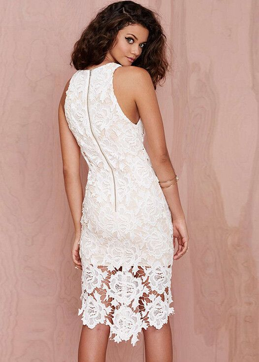 Women's Lace Sleeveless o-Neck Asymmetrical Midi Pencil Dress