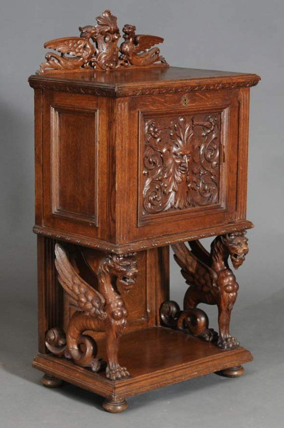 Victorian Carved Oak Safe Cabinet : With Winged Griffins Attributed To R.J.  Horner With Herring U0026