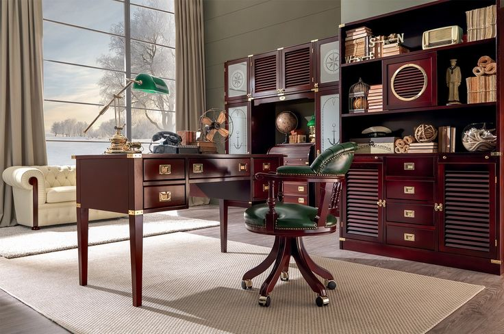 Classic Mahogany home office  #office #studio #ufficio