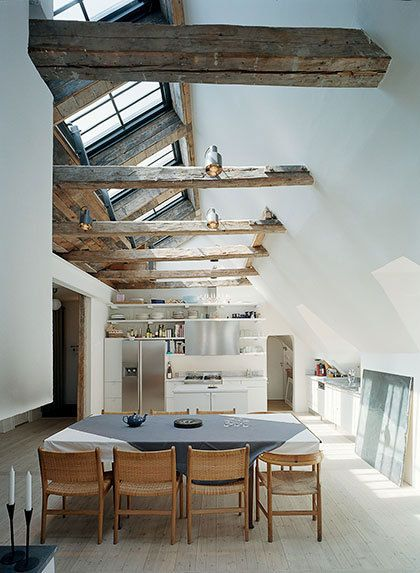 Wooden beams and window panelling