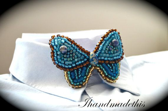Turquoise beaded butterfly bow tie beads by Ihandmadethis on Etsy