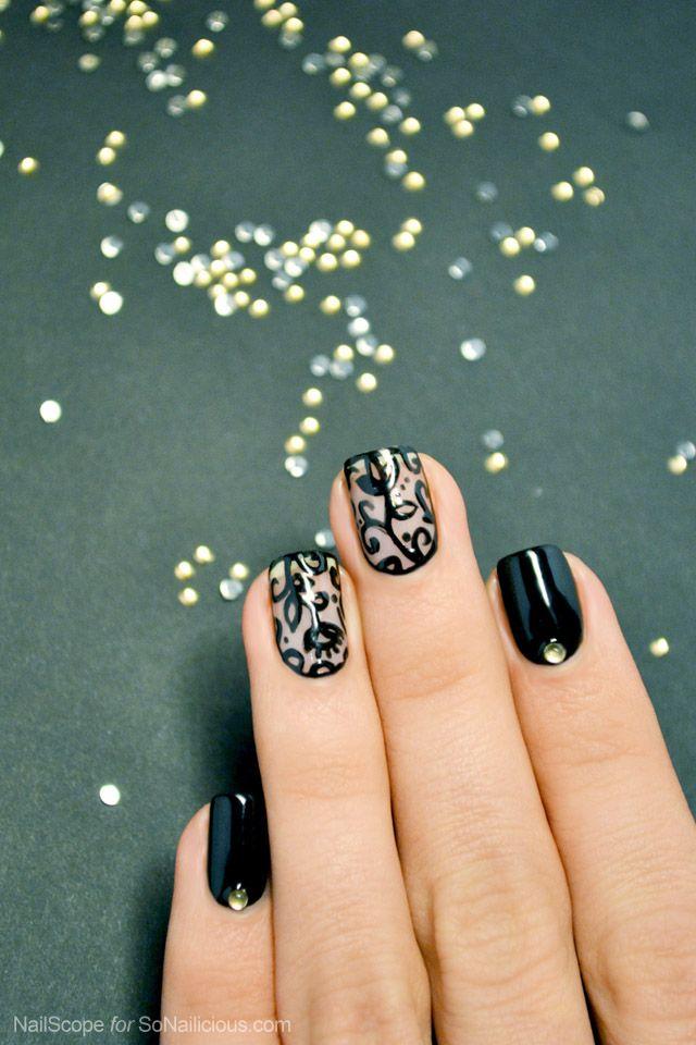Easy Lace Nail Art Tutorial: http://sonailicious.com/black-lace-nail-art-tutorial/