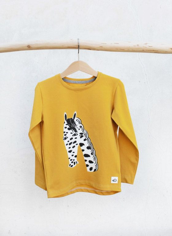 Jersey Longsleeve Shirt Mustard Benson, Horse Print Unisex Eco Friendly, Kids Toddler Baby Top by Pocopato on Etsy