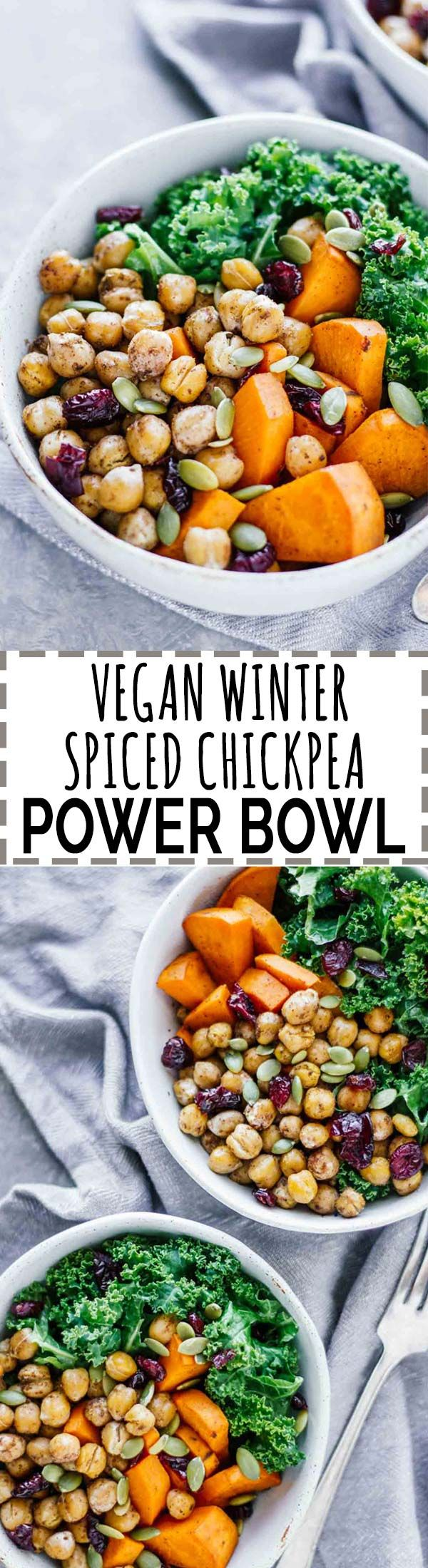 Vegan Winter Spiced Chickpea Power Bowl! All the winter feels, less than 30 minutes, vegan, vegetarian, and gluten-free!