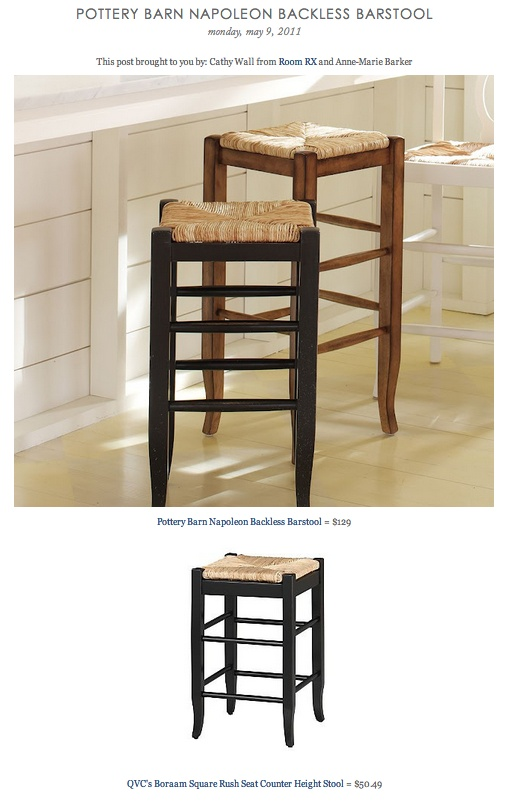 COPY CAT CHIC FIND: Pottery Barn Napoleon Backless Barstool VS QVC's Boraam  Square Rush Seat - 76 Best Bar & Counter Stools Images On Pinterest