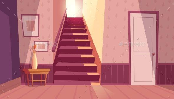 Vector Interior with Staircase #Vector #Interior #Staircase Anime background Anime backgrounds wallpapers Anime scenery