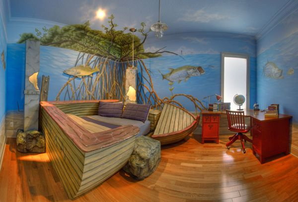fishing theme boys bedroom | Furniture and Design|Sunken Dingy Bed