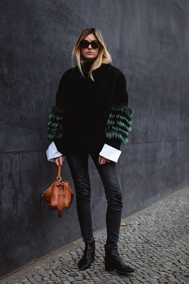 by Sania Claus Demina Wearing a white crispy shirt and letting its cuffs sneak out of the sleeves underneath your winter sweater (or like in this case, your jacket)is a very effective and easy stylin