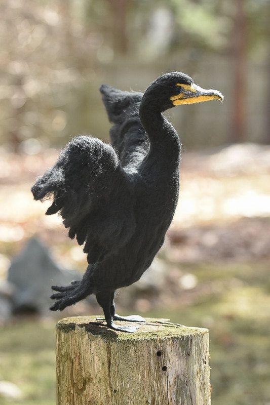 Kormoran Wolle Filz handgemacht Vogel von WildThingsMaine auf Etsy