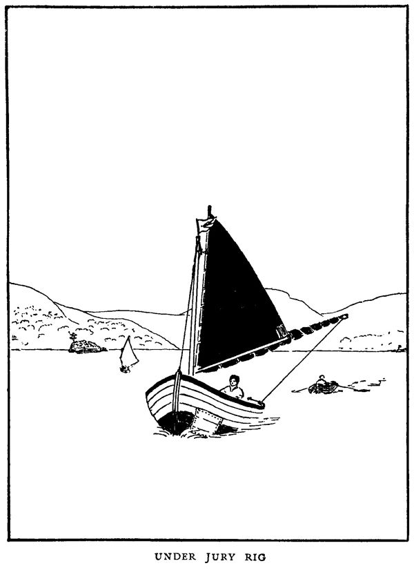 This drawing, by Arthur Ransome, shows John at the tiller of Swallow. It is taken from the second book in the series, Swallowdale