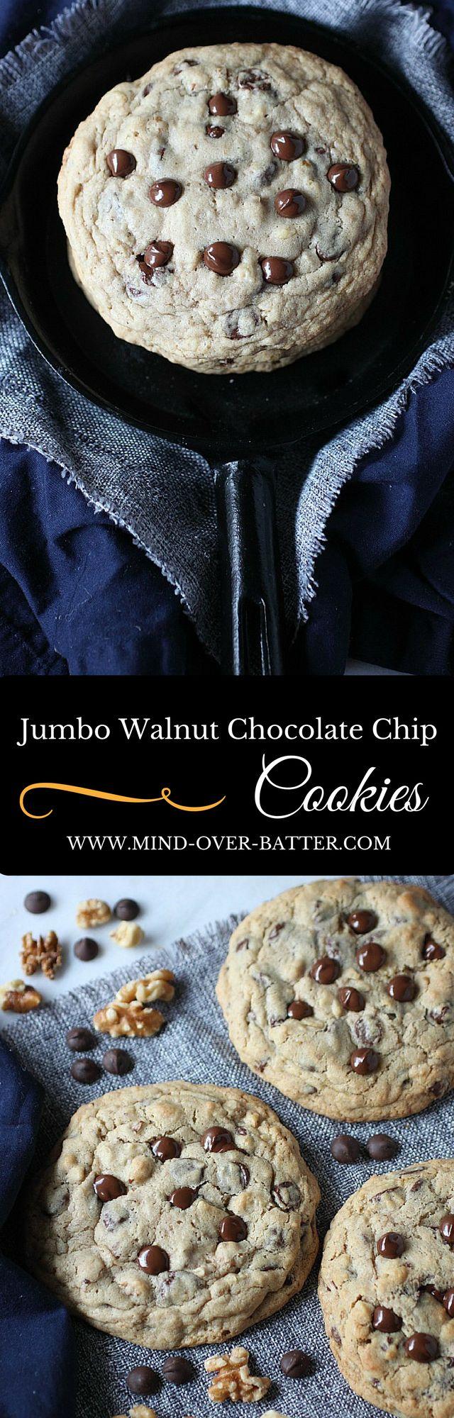 Jumbo Walnut Chocolate Chip Cookies -- www.mind-over-batter.com