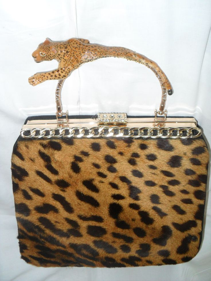 ZOOIELLI by Enzo D'Amato designer  Handbag leather and real fur jaguar   jewel neck, jaguar with enamel