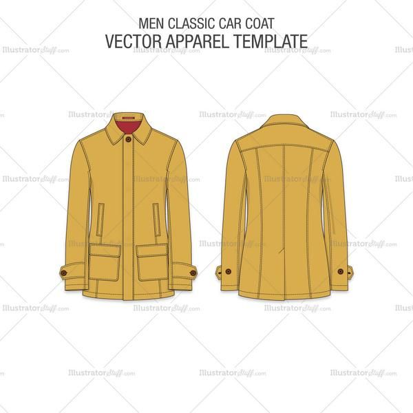 A fine fashion vector flat template for Men Car Coat. A great new edition to your Men Apparel Templates. This template is crafted with all necessary details showing a contra