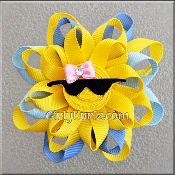 BLUE Sun Ribbon Sculpture Hair Clip Loopy Hair Bow by GirlyKurlz