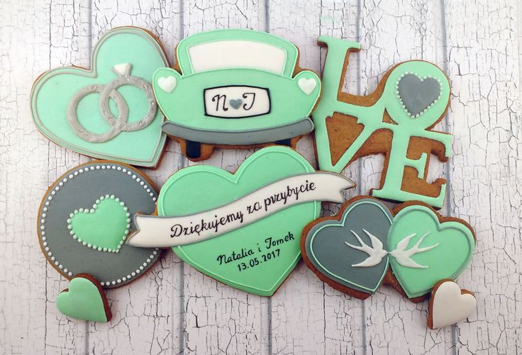 Wedding icing cookies, mint and grey: rings, wedding car, heart with names and greeting, LOVE double heart with swallows