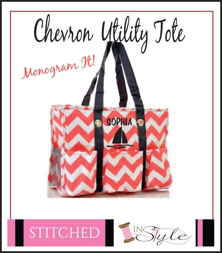 utility tote  diaper bag  nurses tote  teachers tote  coral chevron grey straps