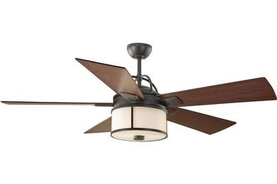"Selected Living room Ceiling Fan: Monte Carlo - Dakota 5DKR52ESD,52"" Dakota Fan - Espresso Product #: 	5DKR52ESD Finish: 	Espresso Glass:  	White Opal Etched Light Kit:  	Integrated 2 Medium 13w Max. (included)  Height:  	Fan: 18 13/32'' Min. Ceiling Height: 7 29/32'"