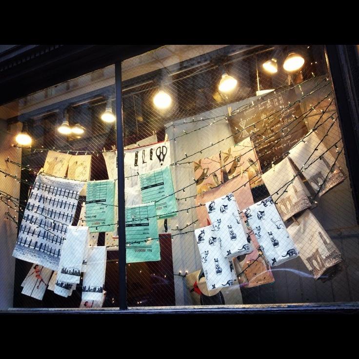 Dishtowels in the side window