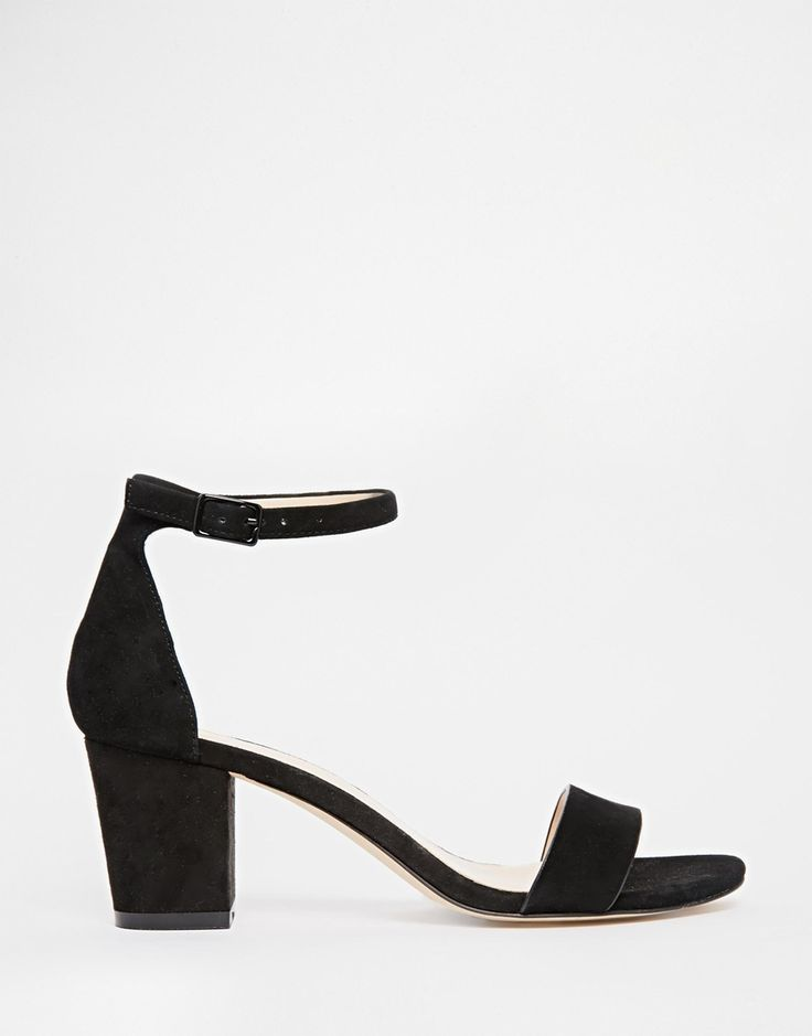"Image 1 of River Island Prune Leather Block Heeled Sandals.  $81 and only 2 1/2"" heel"
