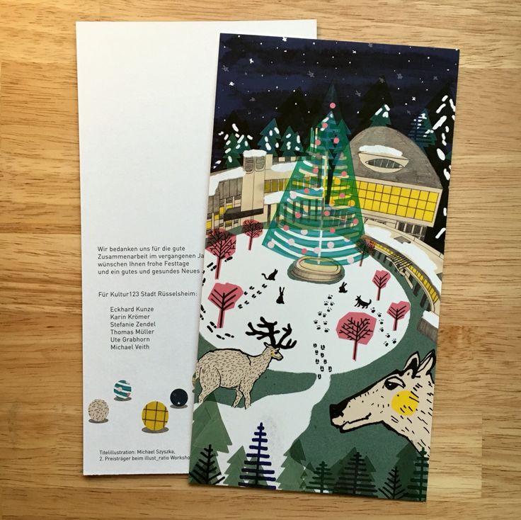 Weihnachtskarte für den Kulturverein Rüsselsheim. :) - #christmascard #illustration #artwork #artofinstagram #creativity #inspiration #instaillustration #christmastree #rüsselsheim #drawing #animalart #christmas
